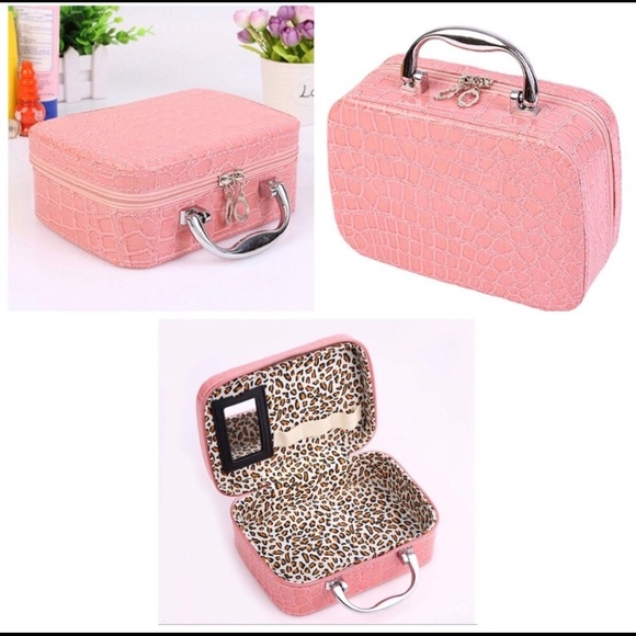 Handbags - Pink Faux Crocodile Make-up Travel Case